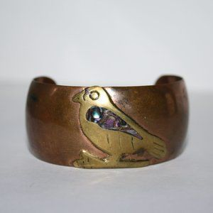 "Vintage copper brass abalone bird cuff bracelet 7"""
